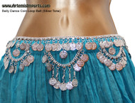 Belly Dance Coin Loop Belt, SilverTone