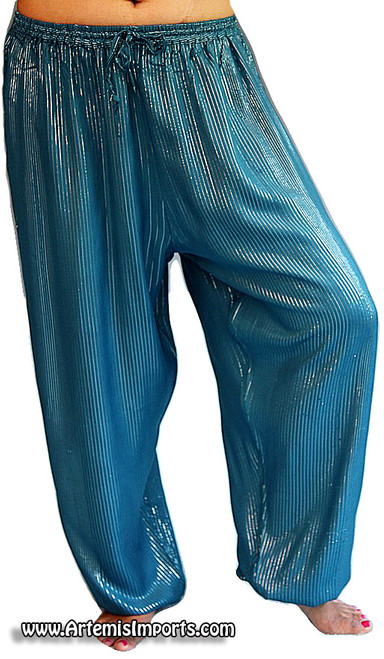 Belly Dance Harem Pants With Striped Lurex (No Slit) Turquoise
