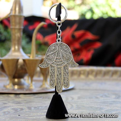 Large Hand of Fatma / Hamsa Filigree Key Chain