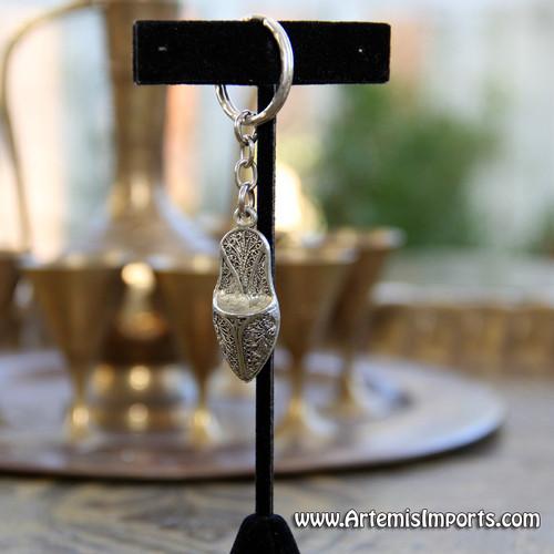 Moroccan Slipper Filigree Pendant Key Chain - Silver Tone Metal
