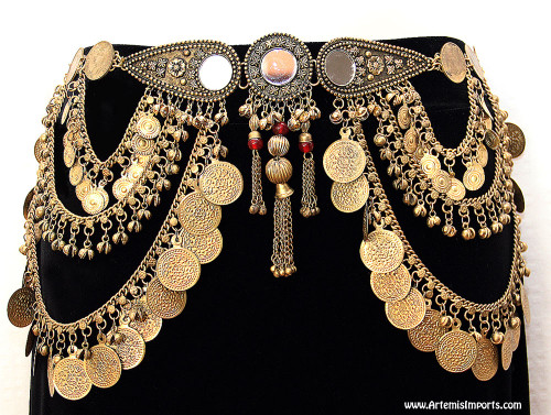 Belly Dance / Tribal Coin Belt With Binty Bells, Coins & Mirror Medallion - Gold Tone
