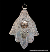 Hand of Fatima / Hamsa ~ Medium With Small Hand of Fatima Hanging From Center - Silver Tone