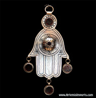 Hand of Fatima / Hamsa ~ With Three Dark Red Glass Enamel Pendants & Two Additional Dark Red Glass Enamel