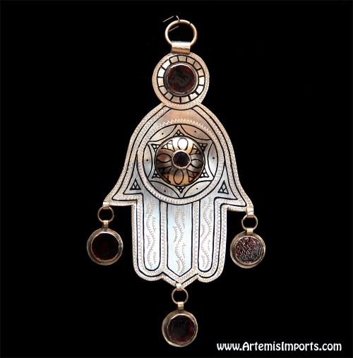 Hand of Fatima / Hamsa ~ With Three Dark Red Glass Enamel Pendants & Two Additional Dark Red Glass Enamel
