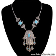 Hand of Fatma / Hamsa Large Filigree Pendant Necklace with Hamsas Hanging From Each Finger - Silver with Turquoise Inlay