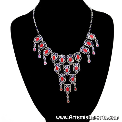 Silver Tone Statement Necklace - Red