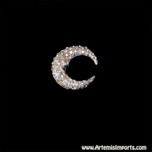 Belly Dance Moon Brooch (Pin) Close Up