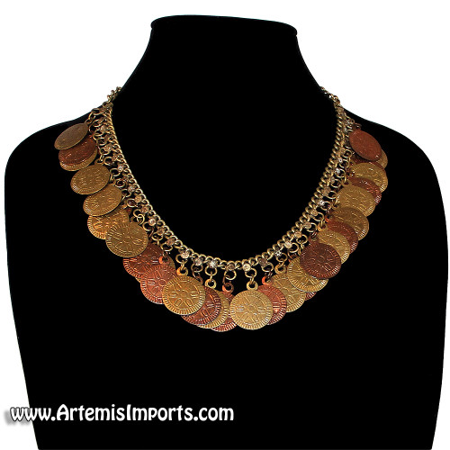Belly Dance Necklace with Copper & Antique Gold Coins
