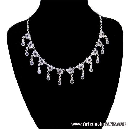 """Antique Look"" Dainty Silver Tone and Black Enamel Necklace"