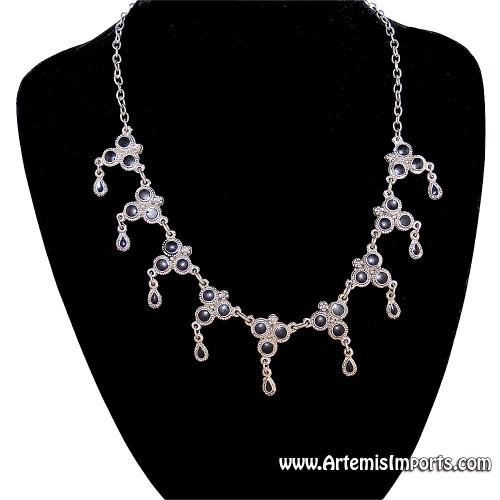 """Antique Look"" Silver Tone and Black Enamel Necklace"