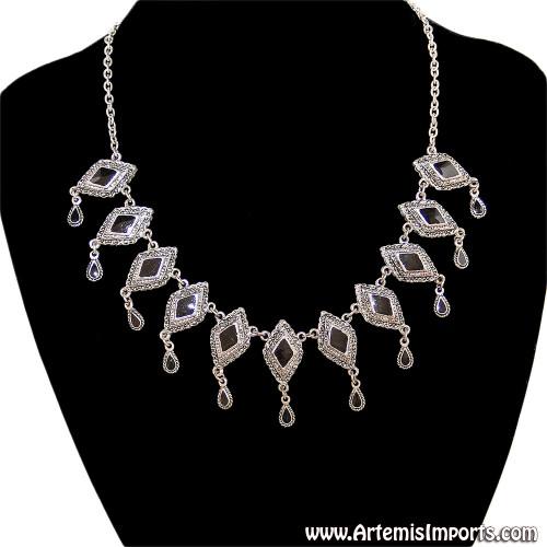 """Antique Look"" Diamond Shape Silver Tone and Black Enamel Necklace"