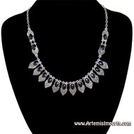 """Antique Look"" Silver Tone & Black Enamel Necklace"