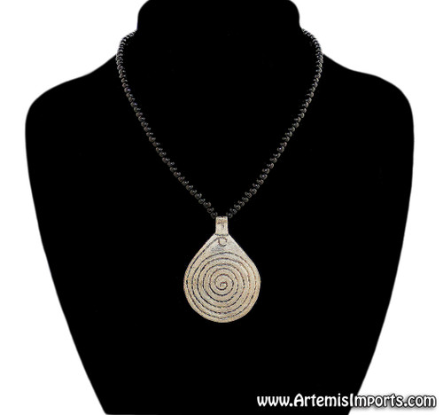 "Black Beaded Necklace with ""Spiral of Life"" Pendant"