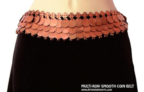 Multi-Row Smooth Belly Dance Disc & Binty Bells Belt in Copper