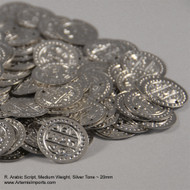 Belly Dance /Tribal Coins for Costuming - Arabic Script, Medium Weight, 20mm in Silver Tone