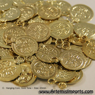 Belly Dance /Tribal Coins for Costuming - Hanging Coin, Medium Weight, 23mm in Gold Tone
