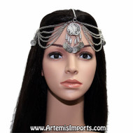Belly Dance Headpiece with Large Medallion, Chain & Coins - Gold or Silver