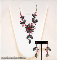 Belly Dance Necklace & Earrings in Black Wire & Red Rhinestones