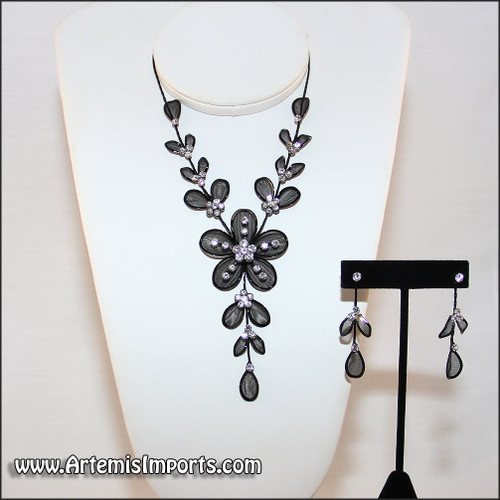 Belly Dance Necklace & Earrings in Black Wire & Clear Rhinestones