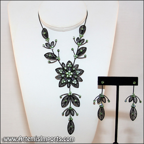 Belly Dance Necklace & Earrings in Black Wire & Green Rhinestones