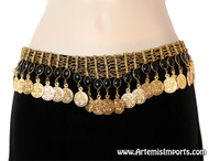 Belly Dance Belt - Coins & Black Resin Beads on Gold Tone Mesh