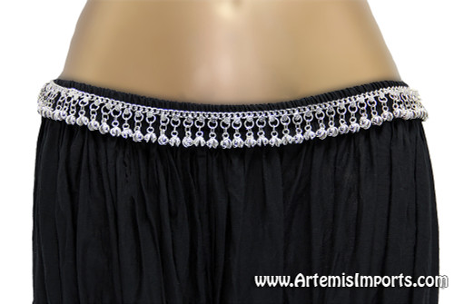 Belly Dance Belt with Large Ghungroo Bells ~ Silver