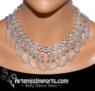 Belly Dance Necklace with Chaine Loops & Bells in Silver