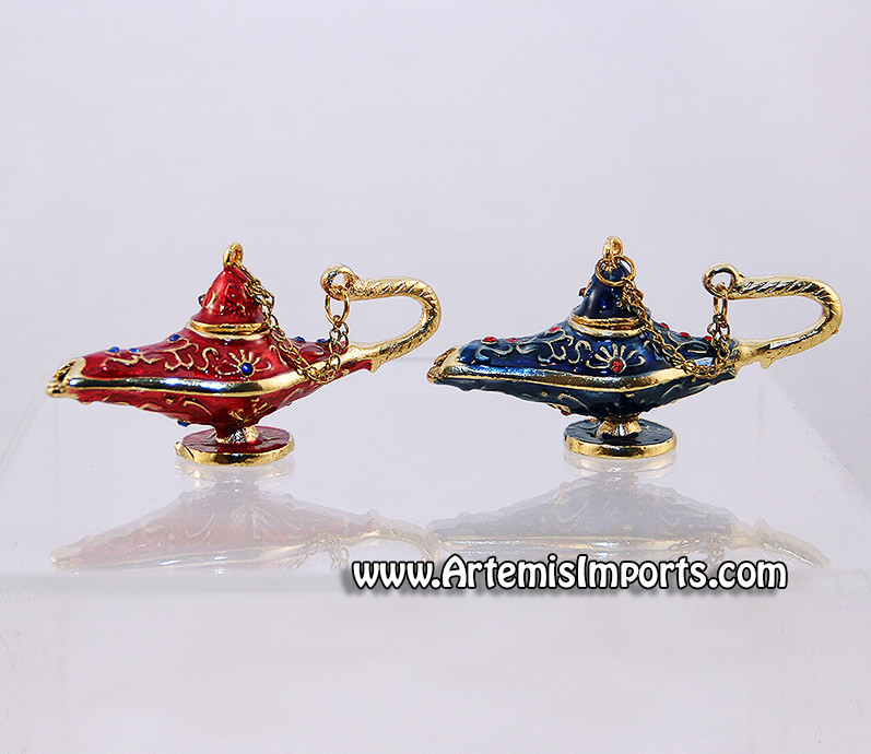 Aladdin Genie Lamp Enameled Crystal Collectible Jewelry Box
