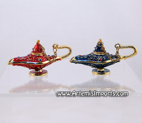 Aladdin Genie Lamp - Enameled Crystal Collectible Jewelry Box