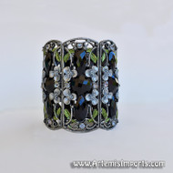 Belly Dance - Dark Silver & Black Rhinestone Antique Inspired Cuff Bracelet