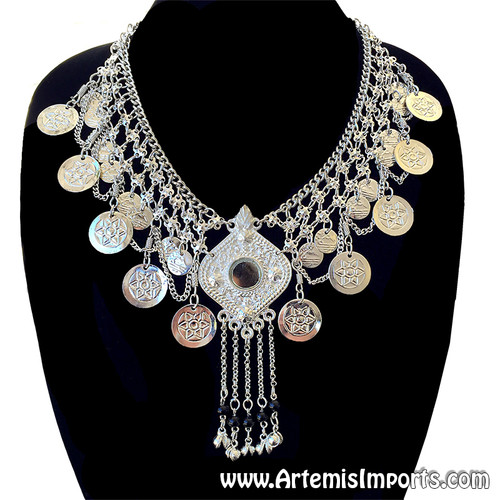Belly Dance / Tribal Necklace With Mirror Medallion, Coins, Chain Swag - Silver - Red Bead Only
