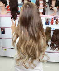 #005W 10H613C beautiful highlighted brown and blonde hair extension (videos inside)