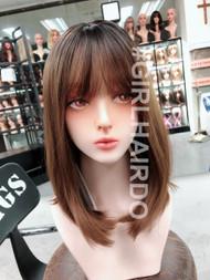 G6119230 honey brown natural shoulder length skin wig