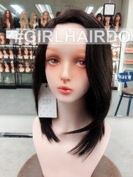 100% premium human hair shoulder length wig with scalp hairline