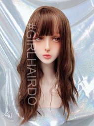 k7618 light brown Japanese permed skin wig