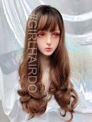 G8195 honey brown Long thick curly skin wig sexy cute
