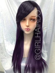 Party wig Dark purple Long wig