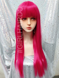 Bright pink Long part wig