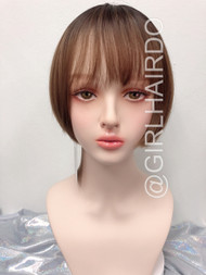 GIRLHAIRDO PREMIUM SKIN WIG SHORT LIGHT BROWN WITH BLACK ROOTS LIGHT WEIGHT SHORT BOB