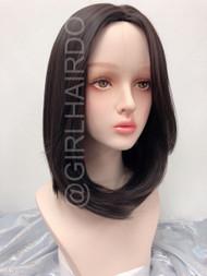 Sw117 brownish black shoulder length premium Long fringe skin wig 38cm
