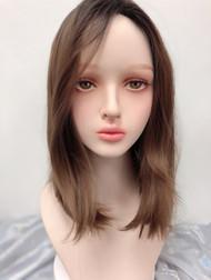 SW117 Girlhairdo premium honey brown shoulder length skin wig