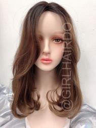 Sw21 Long fringe skin wig honey brown