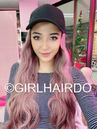 CAP WITH PASTEL PINK BEACH WAVE HAIR