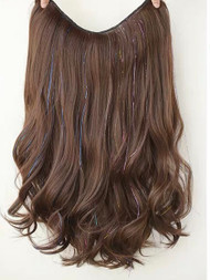 53CM LONG MOCHA BROWN HAIR EXTENSIONS GLIT