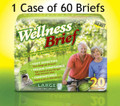 60 Super Absorbent Wellness Adult Briefs, Choice of Medium, Large or Extra Large