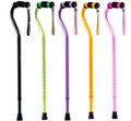 Black, Green, Purple, Orange & Pink Walking Canes with Rhinestone Wrist Straps.