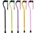 Black, Green, Purple, Orange & Pink Walking Canes with Rhinestone Wrist Straps.
