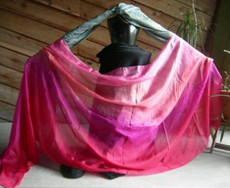 5mm Ultralight 3 yard Silk Belly Dance Veil, in SWEETHEART