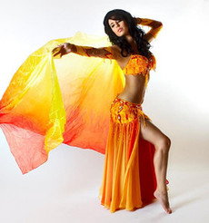 5mm Ultralight 3 yard Silk Belly Dance Veil, in HERMES