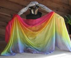 ORDERABLE: 5mm Ultralight 3 yard Silk Belly Dance Veil, in GENTLE RAINBOW